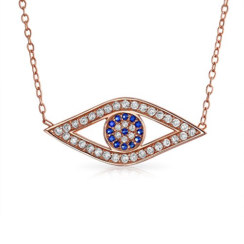 Nazar Evil Eye (CZ Evil Eye Pendant Rose Gold Plated Necklace 16 Inches)