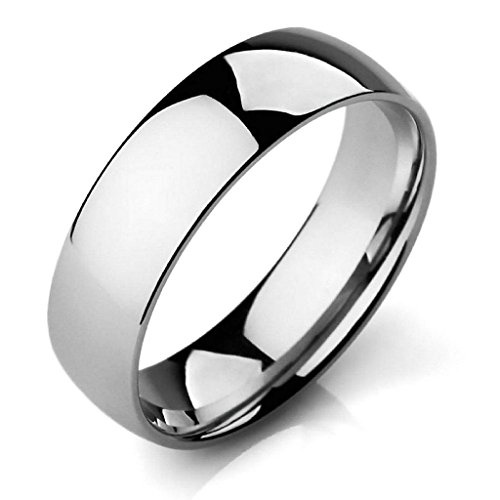 Aooaz Stainless Steel Rings For Men Vintage Silver Polished Bands Size 8 Rock Punk Free Engraving