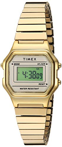 Timex Women's TW2T48000 Classic Digital Mini Gold-Tone Stainless Steel Expansion Band Watch ()