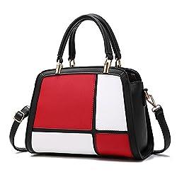 Top Shop Bag Ftsucq Womens Contrast Color Satchels Shoulder Handbags Casual Messenger Bag Hobos Satchels Purse 3pcs Floral Handkies
