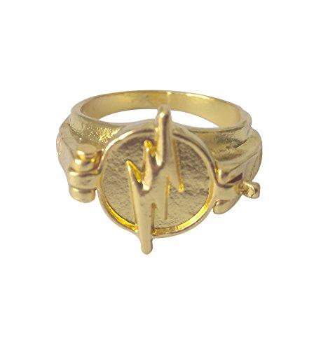 Reverse Flash Ring Golden Size 7 8 Zinc Alloy Lightning Logo Cosplay Prop