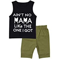 Baby Boy Clothes Funny Letter Printed Tops Leggings Pants Outfits Set for Toddler Boys ArmyGreen