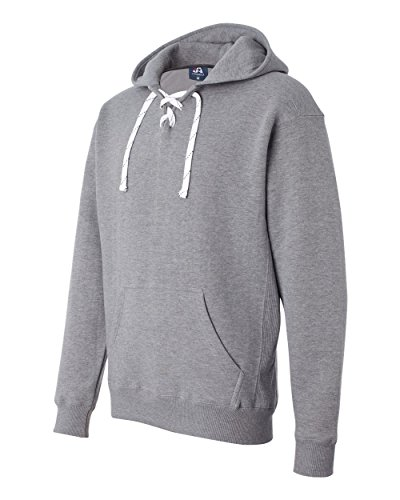 J. America Oxford Hockey Hood Sweatshirt: 80% Ringspun Cotton, 20% Polyester Fleece Fabric,Oxford Gray,XX-Small America Polyester Fleece