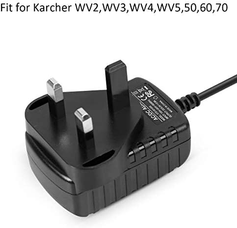 GORVELL 5.5V 600mA Window Vacuum Cleaner Adapter Replacement for Karcher WV2,WV3,WV4,WV5,50,60,70,UK Plug