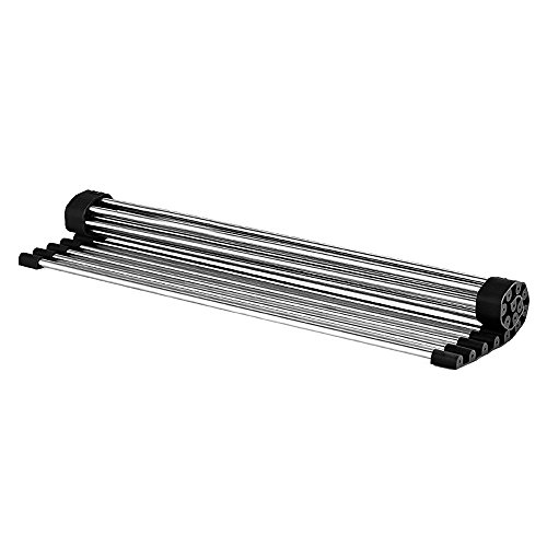 vanra foldable roll up dish drying rack stainless steel over the sink colander dish drainer tray. Black Bedroom Furniture Sets. Home Design Ideas