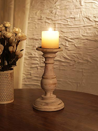Ardour Distressed White Round Pillar Candle Holder Large