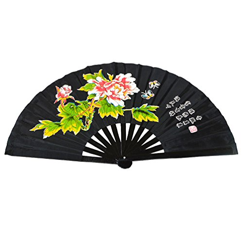 Chinese Kung Fu Tai Chi Fan Arts Dance/Practice Performance Bamboo Folding Fan (Peony flower black background)