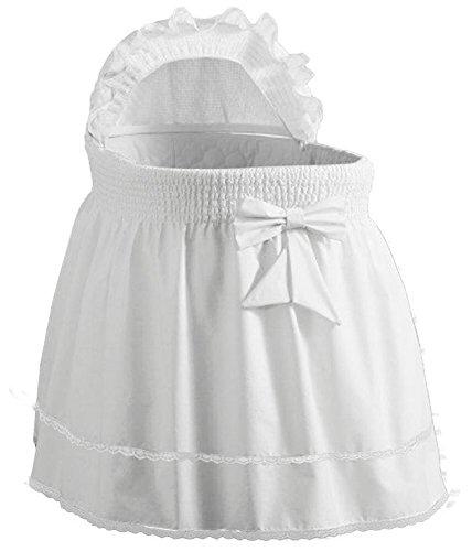 Babydoll Bedding Precious Bassinet Liner/Skirt & Hood, White, 13'' x 29'' by BabyDoll Bedding
