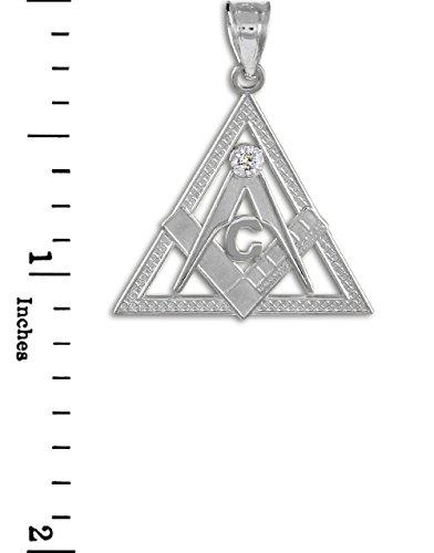 Petits Merveilles D'amour - Pendentif - 10 ct or 471/1000 Blanc Trois Angle Franc Maçon Pendentif diamant