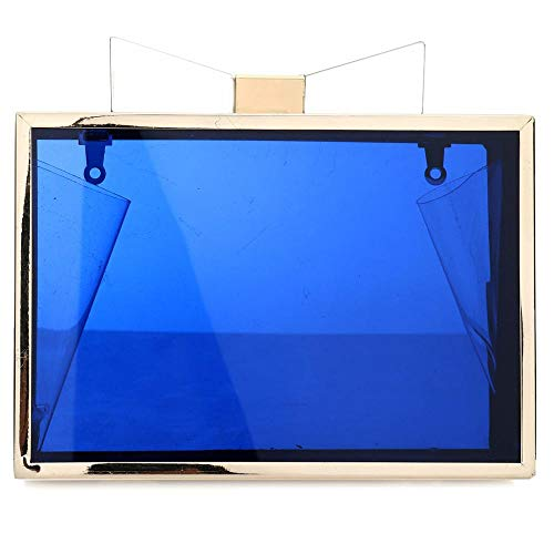 Acrylic Box Gold Clutch Clear Bag Crossbody Transparent Handbag Blue For Chain Shoulder Purse Evening Cute Women 4qIWEv4