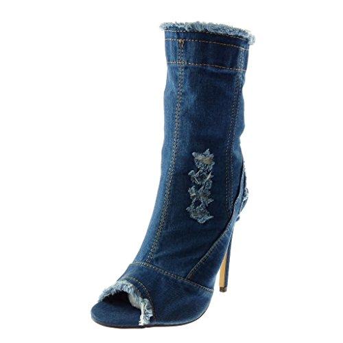 Femme Mode Effiloch Stiletto Jeans Chaussure Toe Denim Peep Angkorly Bottine 5qK8Kf