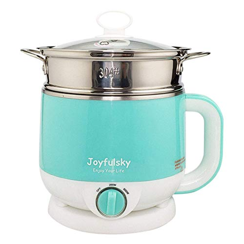 Find Cheap Joyfulsky 1.5L Electric Hot Pot with Food Steamer and American Plug, Electric Cooker 110V 600W Green Color (Renewed)