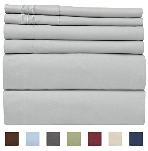 King Size Sheet Set - 6 Piece Set - Hotel Luxury Bed Sheets - Extra Soft - Deep Pockets - Easy Fit - Wrinkle Free - Breathable & Cooling Sheets (Discount King Size Beds)