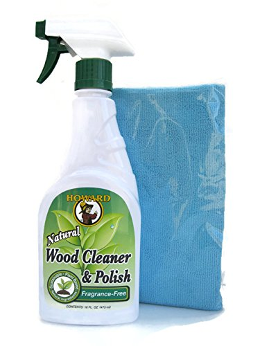 Howard All Natural Wood Furniture Cleaner and Polish - Fragrance Free Natural Wood Polish with Microfiber Cloth (Blue)