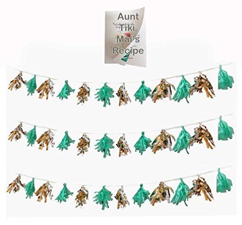 Tassel Garland Banner in Sea Green Tissue Paper Gold Silver Metallic Foil Streamers - Total of 36 Tassles and Bonus Recipe (Green)]()
