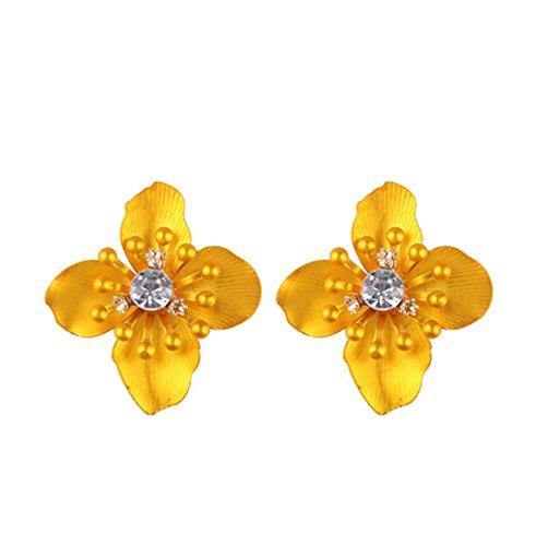 primerry (Fashion Rhinestone Alloy Small Flowers) Ear Hook Pearl Earrings (Yellow)