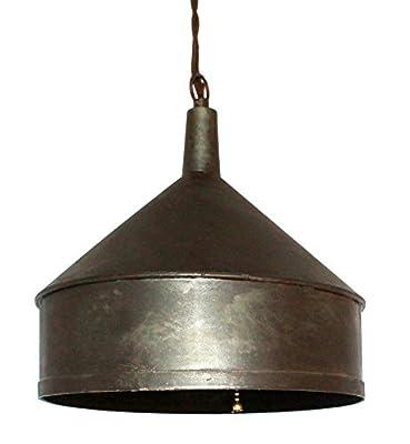 "Plug In Rustic Primitive Funnel Metal Swag Lamp Hanging Pendant Light Vintage Industrial Retro 10""W"