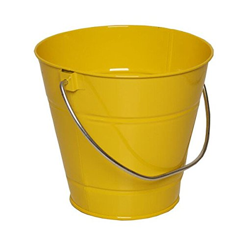 JAM PAPER Metal Pail Bucket - Small - 3 3/4 x 6 x 5 1/4 - Yellow - Sold Individually