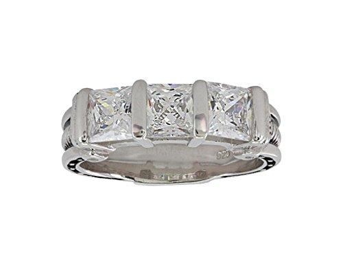 Women's Silver Three Times A Stone Horseshoe Nail Ring Silver One Size (Silver Horseshoe Lady Ring)