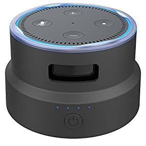 [Echo Dot 2nd Generation Accessories] Smatree Portable Battery Base/ Carrying Holder and Cover for Echo Dot 2nd, Also Can Charge for iphone ,Samsung Galaxy and More Cellphones (Black)