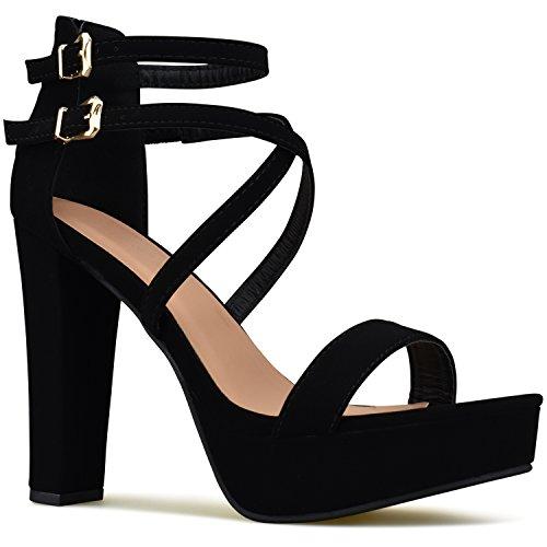 Premier Standard Women's Laser Cut Out Ankle Strap High Heel - Open Toe Sandal Pump - Chunky Wooden Heel Platform Shoe, TPS Heels-1Ylevol Black Size 7