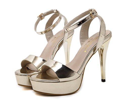 y Abierta de de Alto Sexy Sandalias América HJHY® de Tacón Sandalias Oro Verano Punta Europa Mujeres para con PqaggAn1