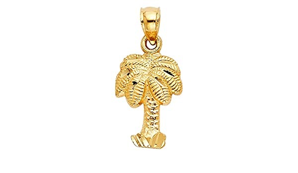 14k Yellow Gold Small//Mini Palm Tree Charm Pendant 15mm x 10mm with 18 Rolo Chain