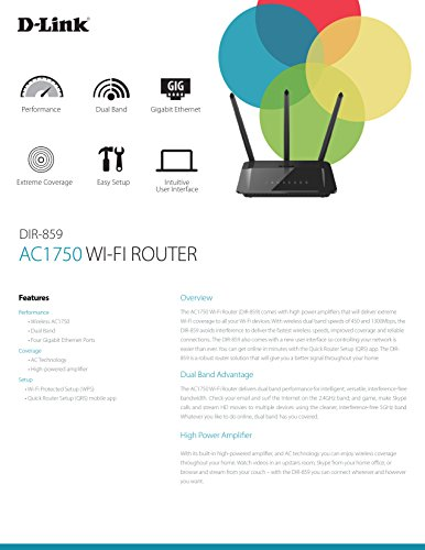 D-link Dir-859 Ac1750 Wi-fi Router With Extreme Coverage