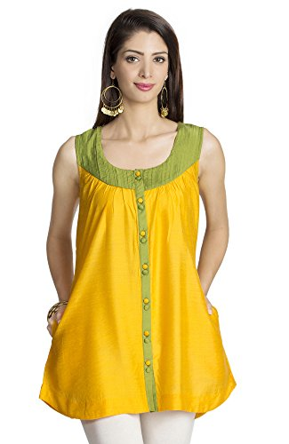 MOHR Women's Sleeveless Tunic Shirt with Pintuck Yoke X-Large Yellow by MOHR - Colors of India