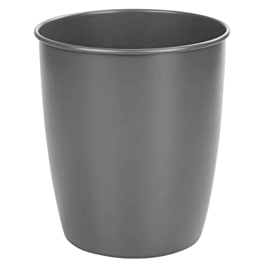 mDesign Round Metal Small Trash Can Wastebasket, Garbage Container Bin for Bathrooms, Powder Rooms, Kitchens, Home Offices - Durable Steel - Matte Slate Gray