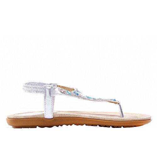 Womens Platform Wedge Sandals Bohemian Beaded Ethnic Style Shoes Thong Sandals (Shining Silver, 9 B(M) US/40EU) by NewYork Offer Shop (Image #5)