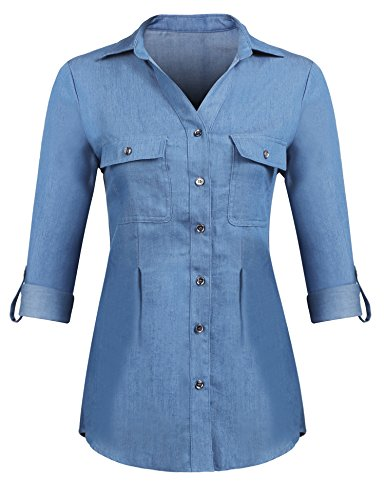 Pinspark Women Vintage Button Down Shirt Long Sleeve Chambray Denim Jean Tops (Light Blue, X-Large) Button Up Shirt Jeans