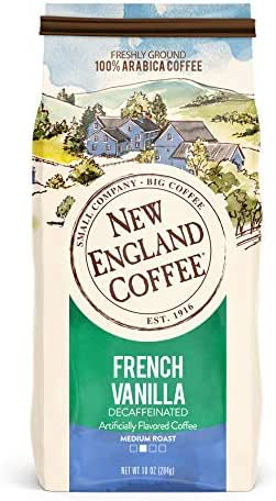 New England Coffee French Vanilla, Decaffeinated Medium Roast Ground Coffee, 10 Ounce Bag