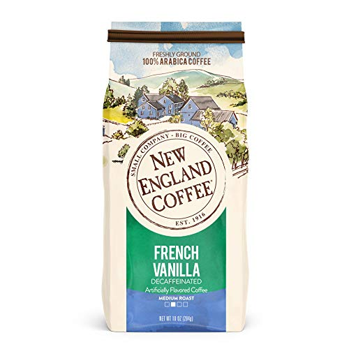 - New England Coffee French Vanilla, Decaffeinated Medium Roast Ground Coffee, 10 Ounce Bag