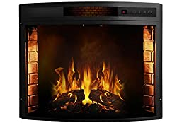 Moda Flame Elwood 26 Inch Curved Ventless Electric Space Heater Built-in Recessed Firebox Fireplace Insert from Moda Flame