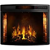 Moda Flame Elwood 23 Inch Curved Ventless Electric Space Heater Built-in Recessed Firebox Fireplace Insert