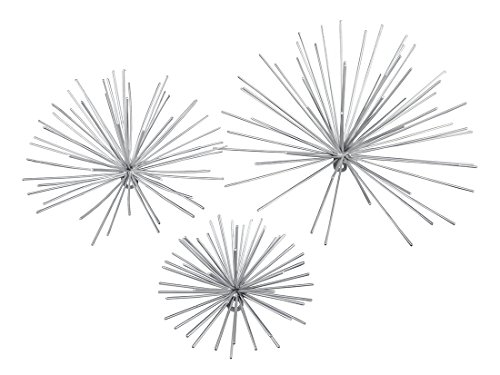 Metal Wall Sculptures Set Of 3 Silver Finish Bursting Metal Star Wall Hangings 12 X 12 X 6.5 Inches (Wall In Metal Wall Sculpture)