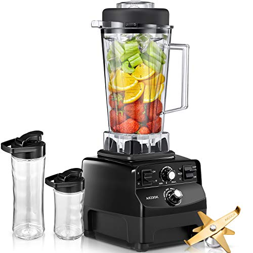 AICOOK Blender for Protein Shakes and Smoothie with Cookbook, 1450W Professional Blender for Crushing Ice, Frozen Dessert and Drinks, 70oz Durable BPA Free Tritan Jar Plus 2 Portable Travel Cups