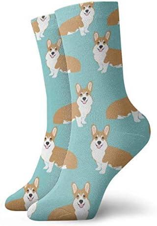 面白いコーギー犬ミントグリーンドレスソックス面白い靴下クレイジーソックス女の子のためのカジュアルな靴下男の子男の子30 cm