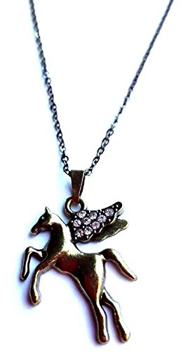 Set of Vintage Horse Pendant 20 Inch Length Bronz Chain Necklace & Crystal Earrings Woman (Mistral Set Ring)