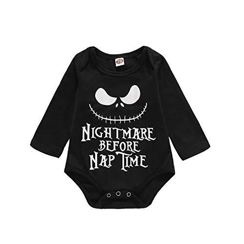 Baby Halloween Costume Kids Boy Girl Nightmare Before Nap Time Bodysuit Long Sleeve Black Romper (Black, 12-18 Months)