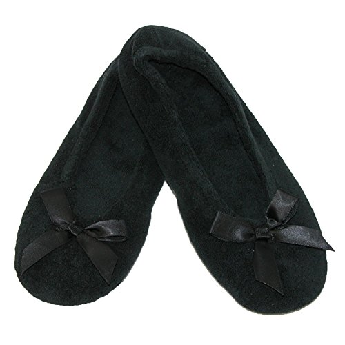 Classic Totes Pack and Terry Black of Isotoner Slippers Ballerina Womens Black 2 OqxwUBx6