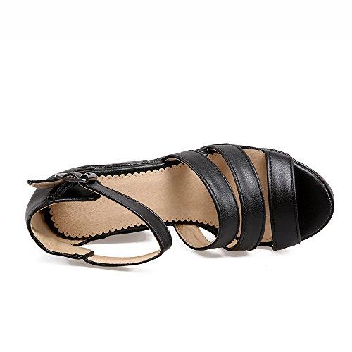 hebillas tacón punta de Sandalias AgooLar sólidas con alto con mujer para abierta negras BqFHwg1