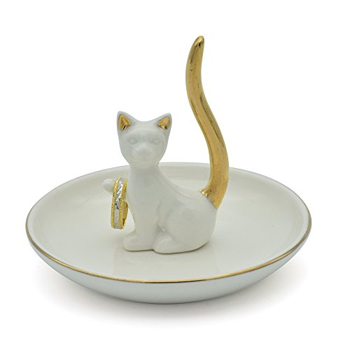 Exembe White Kitty Adorable Posture Trinket Dish Ring Holder Jewelry Rack Tray Golden (Kitty Trinket Box)