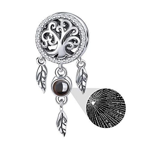 MallDou Jewelry 925 Sterling Silver Charm fit Pandora Charms Bracelet Necklace 100 Languages Projection Dream Catcher Charm (Pandora Best Friend Necklace)