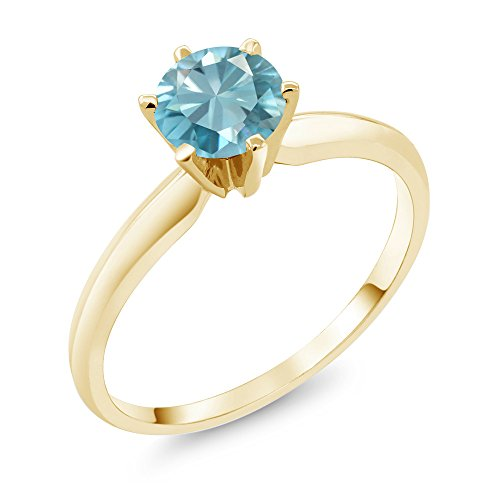 14K Yellow Gold 1.20 Ct Blue Zircon Solitaire Ring (Size ()
