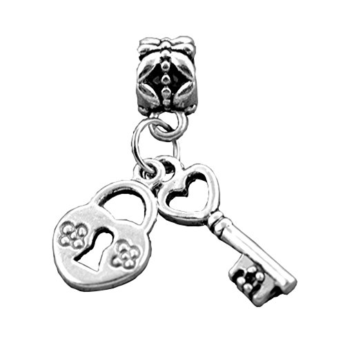 Bling estrellas Amor Encanto Clave Para Mi Corazón Amor Llave de bloqueo Dangle European Beads Fit Pandora pulseras, estilo...