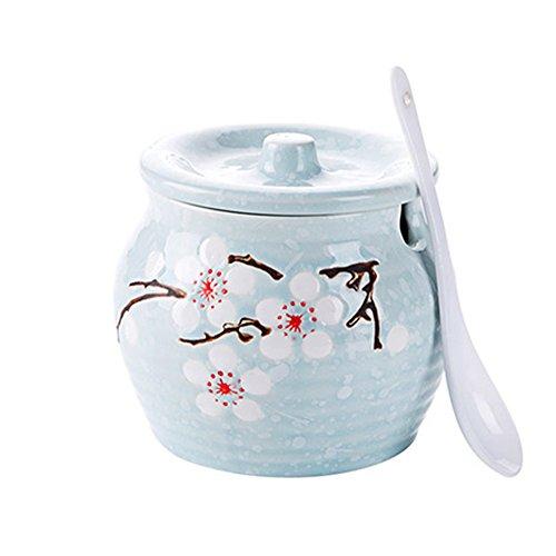 DoDola Ceramic Sakura Sugar Bowl with Lid and Spoon Blue -