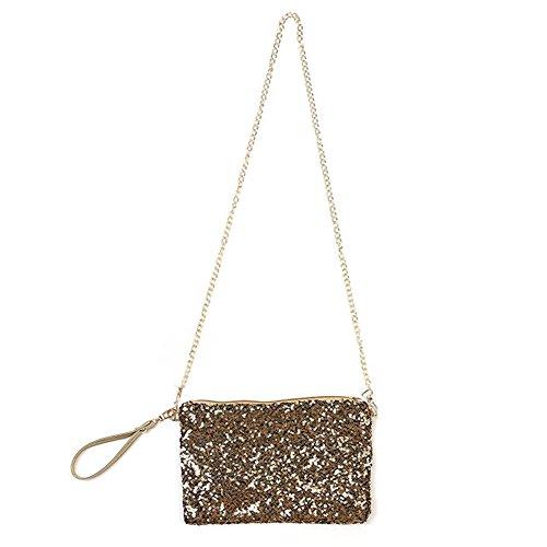 (Women Glitter Bling Sequin Party Evening Bag Handbag Envelop Purse Shoulder Bag)