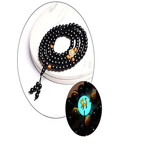 Black Buddha Beads Dragon Bracelets Handmade Jewelry Ethnic Glowing in The Dark Bracelet for Women or Men (6)